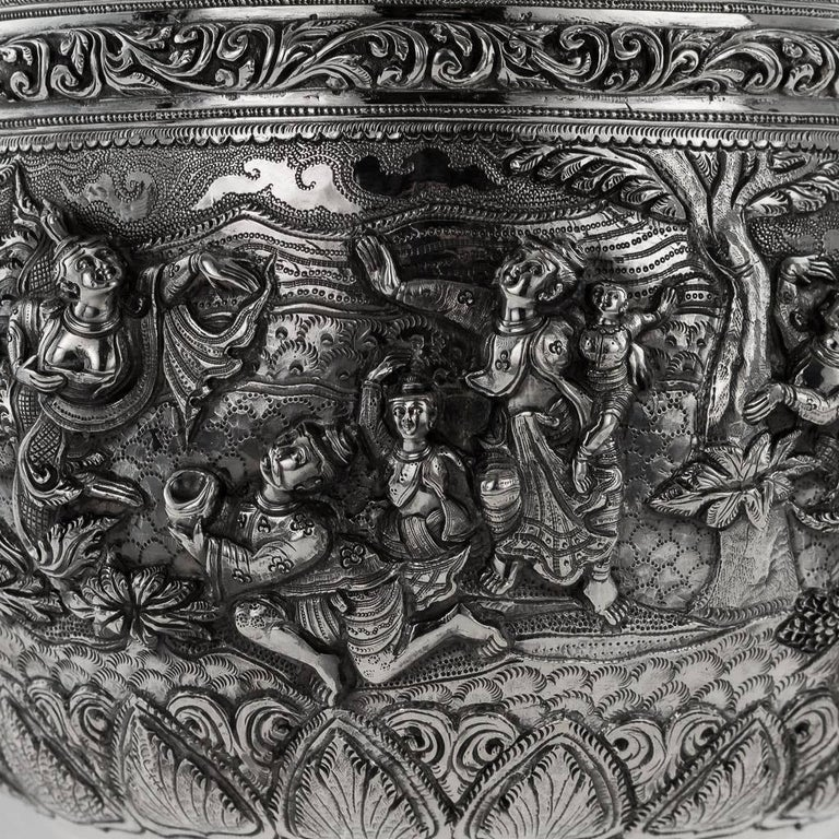 20th Century Burmese Solid Silver Thabeik Bowl, Rangoon, Tiger Mark, circa 1900 5