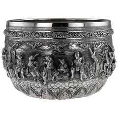 20th Century Burmese Solid Silver Thabeik Bowl, Rangoon, Tiger Mark, circa 1900