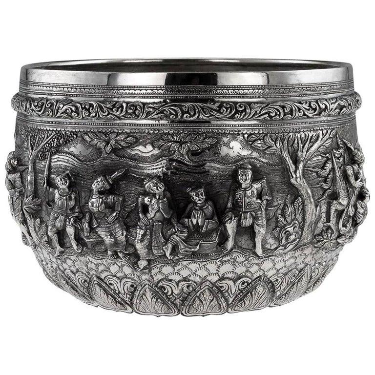20th Century Burmese Solid Silver Thabeik Bowl, Rangoon, Tiger Mark, circa 1900