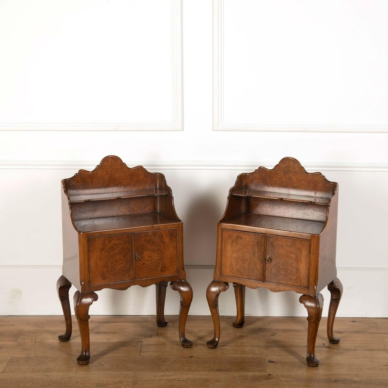 A pair of 20th century burr ash bedside tables, likely Scottish.