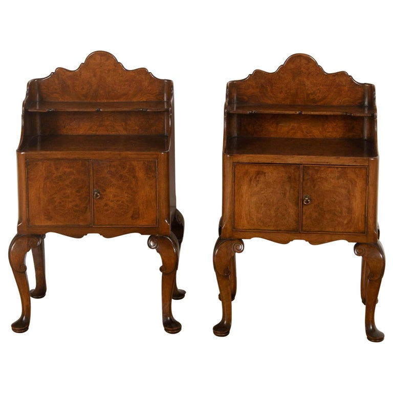 20th Century Burr Ash Bedside Tables For Sale