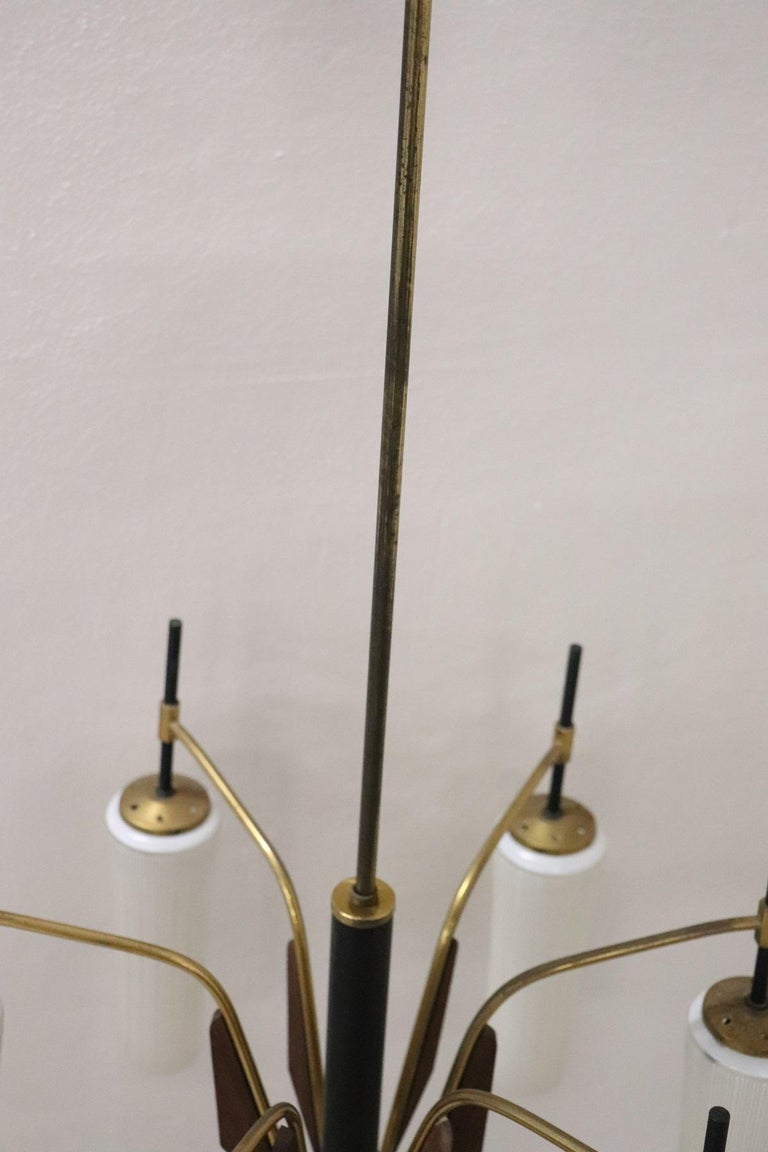 Mid-20th Century 20th Century by Stilnovo Enamel and Brass Italian Design Chandelier, 1960s For Sale