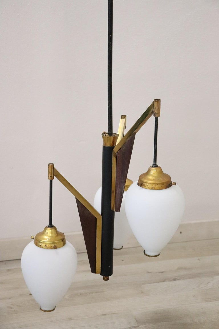 Mid-20th Century 20th Century by Stilnovo Enamel and Brass Italian Design Chandelier, 1960s For Sale