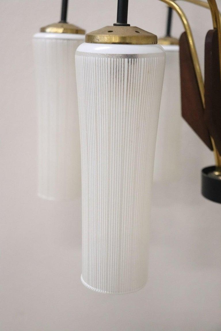 20th Century by Stilnovo Enamel and Brass Italian Design Chandelier, 1960s For Sale 1