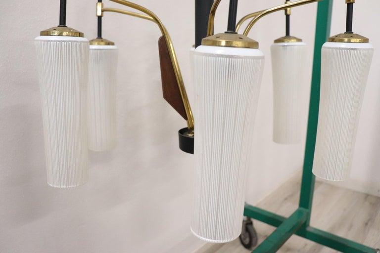 20th Century by Stilnovo Enamel and Brass Italian Design Chandelier, 1960s For Sale 2