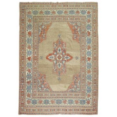 20th Century Camel Orange Blue Color Persian Open Medallion Room Size Rug