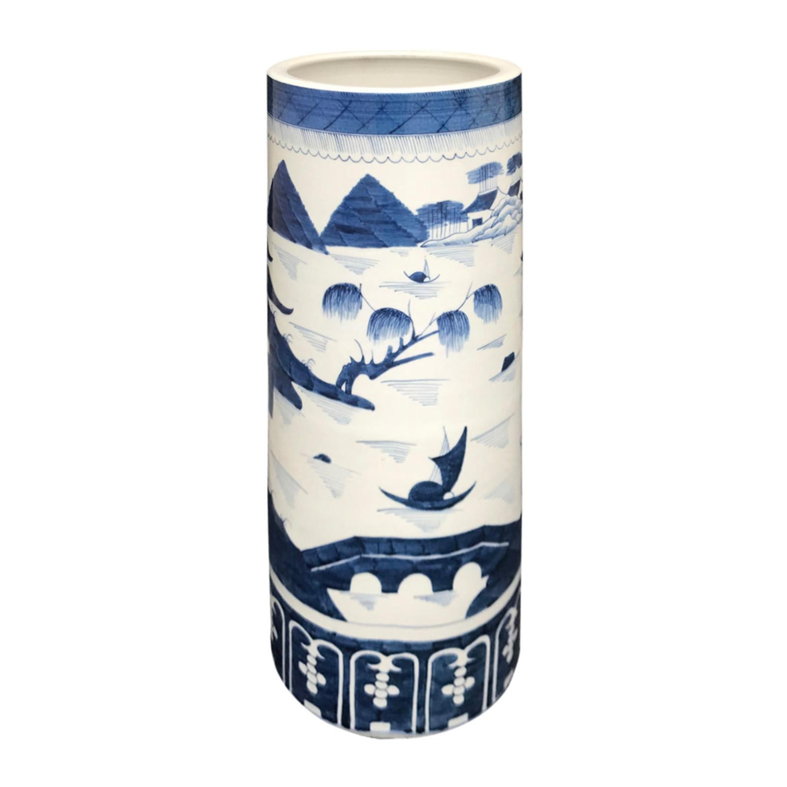 20th Century Canton Style Blue and White Porcelain Umbrella Stand