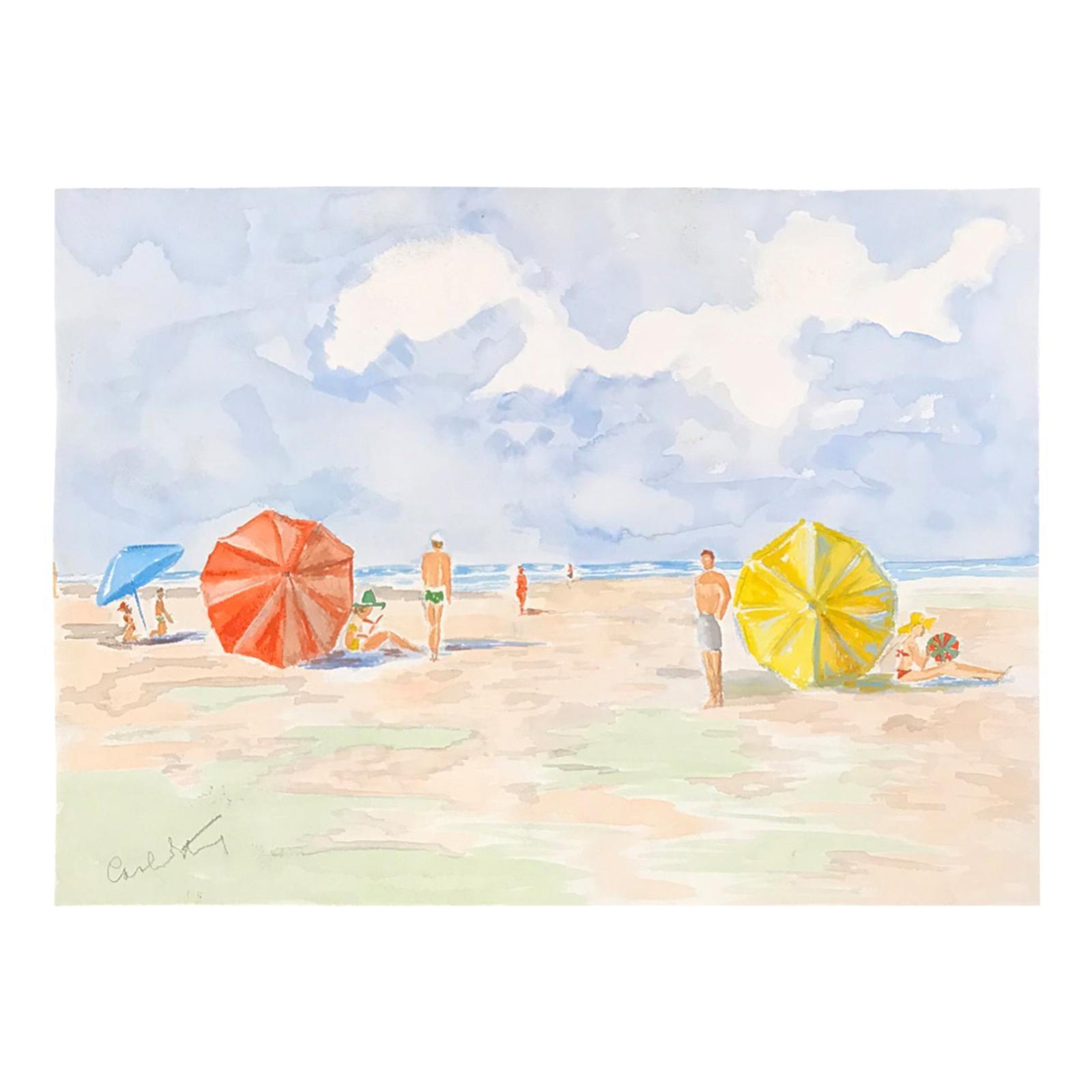 20th Century Carole Stribling Beach Scene Watercolor