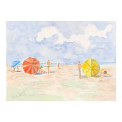 20th Century Carole Stribling Beach Scene Watercolor