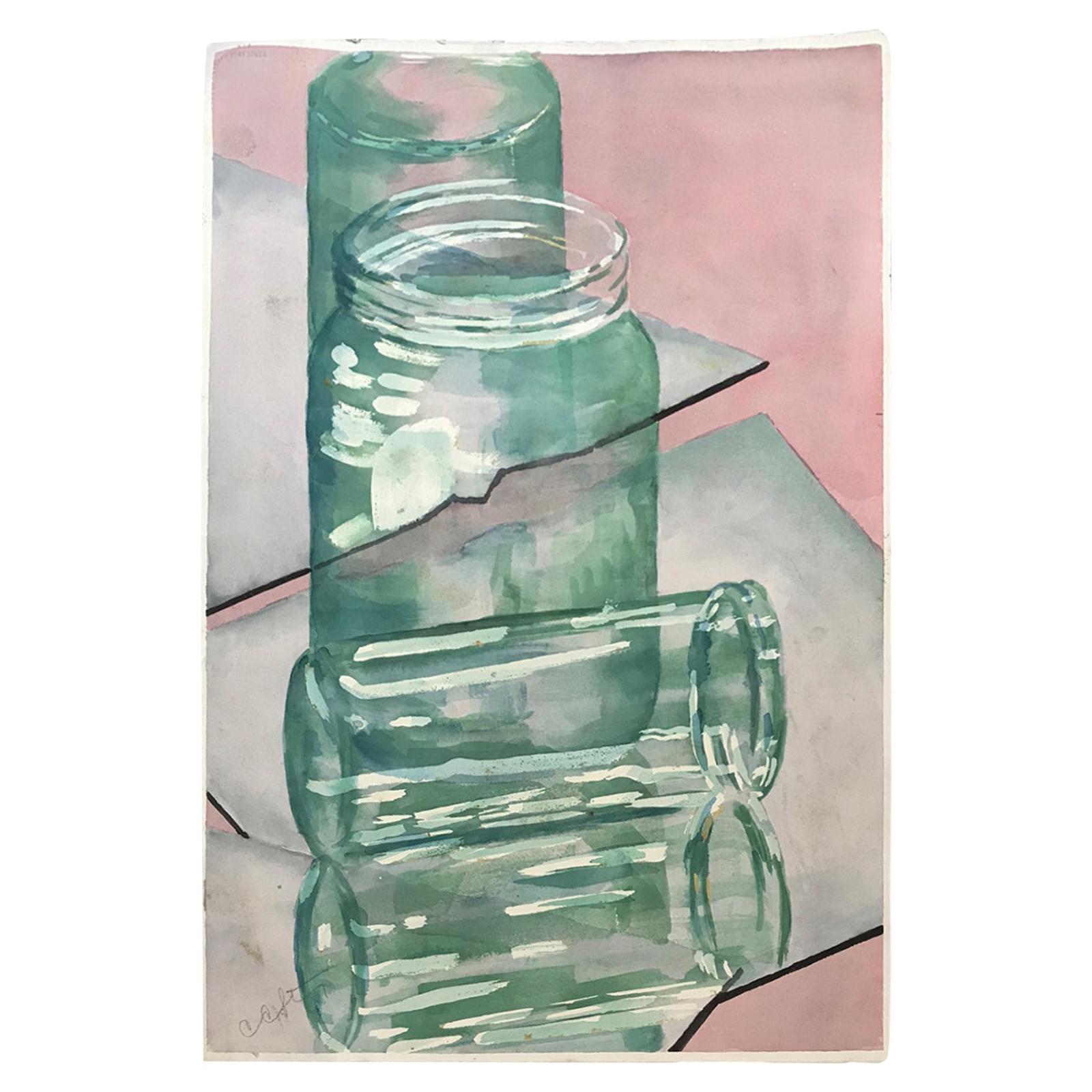 20th Century Carole Stribling Jars Watercolor