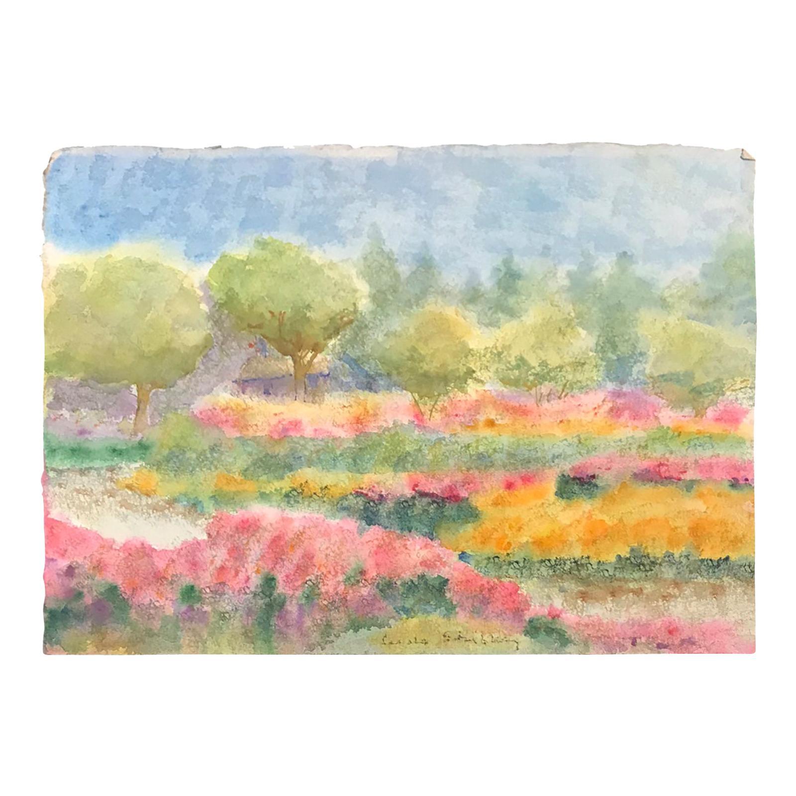 20th Century Carole Stribling Landscape Watercolor