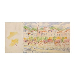 20th Century Carole Stribling Town by The Beach Watercolor