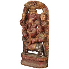 20th Century Carved and Lacquered Wood Indian Divinity Sculpture, 1950