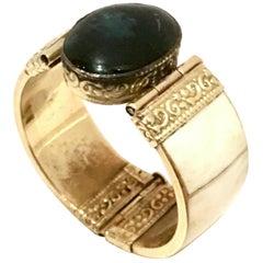 20th Century Carved Bone & Lapis Lazuli Hinge Bangle Bracelet