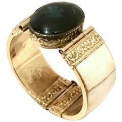 20th Century Carved Bone & Lapis Lazuli Hinge Bangle Bracelet