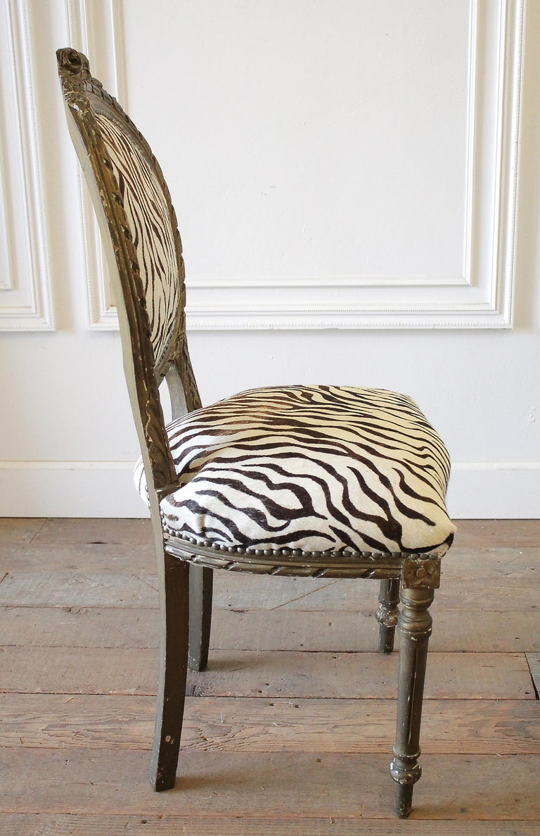 20th Century Carved Giltwood Zebra Upholstered Louis XVI Style Chairs For Sale 6