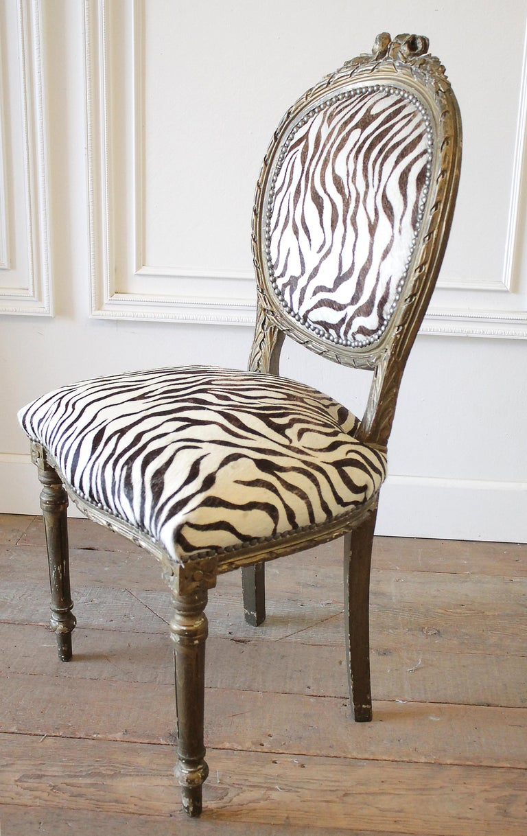 20th Century Carved Giltwood Zebra Upholstered Louis XVI Style Chairs For Sale 7
