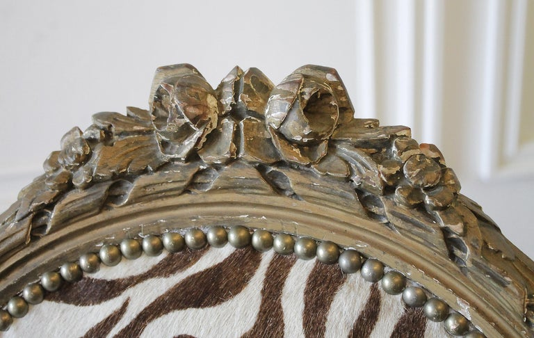 20th Century Carved Giltwood Zebra Upholstered Louis XVI Style Chairs For Sale 8