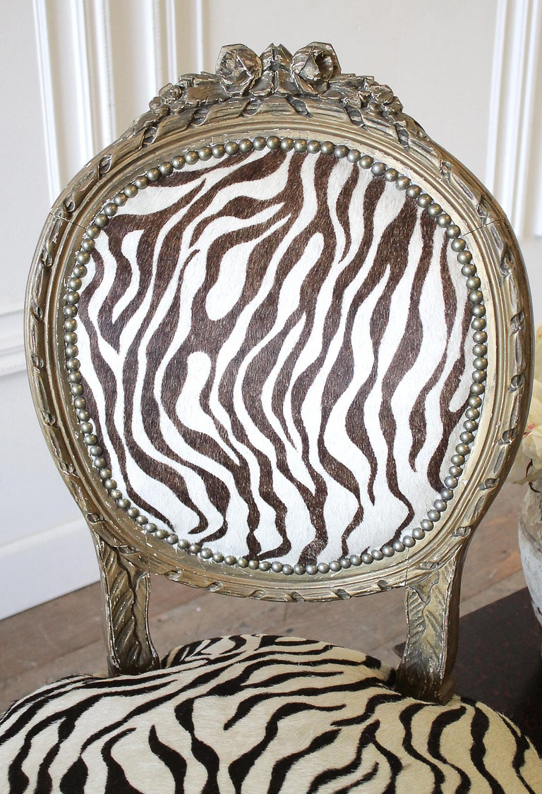 20th Century Carved Giltwood Zebra Upholstered Louis XVI Style Chairs For Sale 9