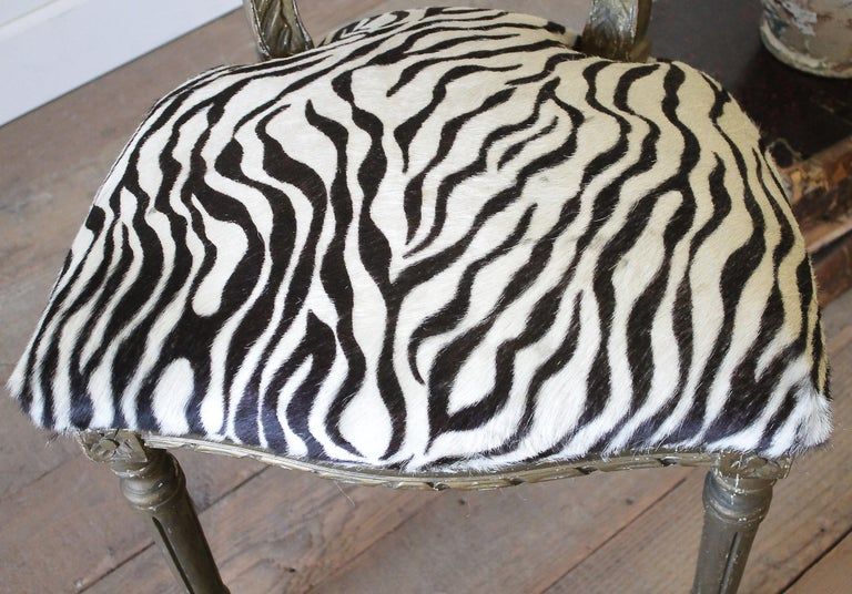 20th Century Carved Giltwood Zebra Upholstered Louis XVI Style Chairs For Sale 10