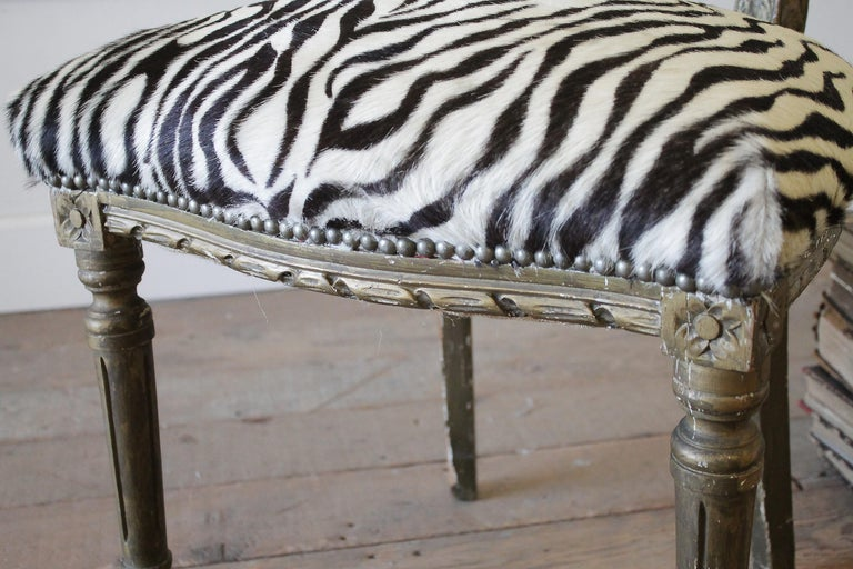 20th Century Carved Giltwood Zebra Upholstered Louis XVI Style Chairs For Sale 13