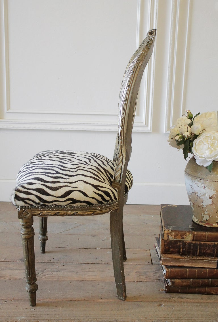 20th Century Carved Giltwood Zebra Upholstered Louis XVI Style Chairs For Sale 14