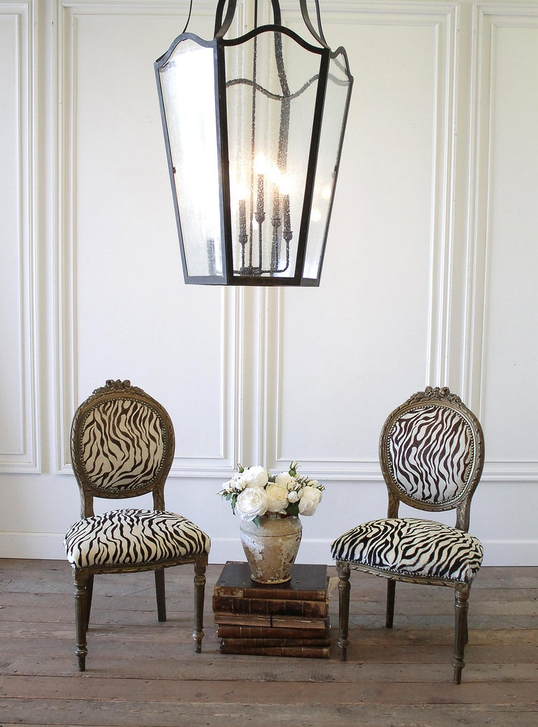 European 20th Century Carved Giltwood Zebra Upholstered Louis XVI Style Chairs For Sale
