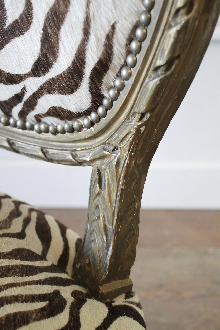 20th Century Carved Giltwood Zebra Upholstered Louis XVI Style Chairs For Sale 3