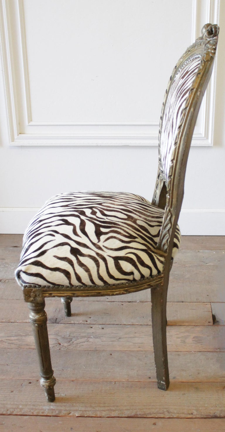 20th Century Carved Giltwood Zebra Upholstered Louis XVI Style Chairs For Sale 4