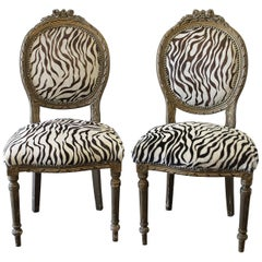 20th Century Carved Giltwood Zebra Upholstered Louis XVI Style Chairs