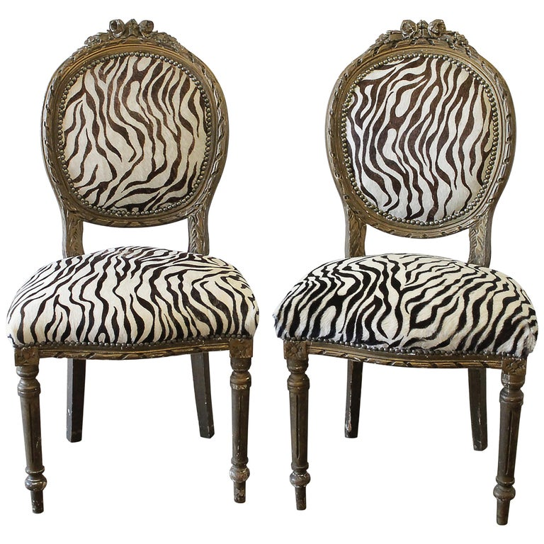 20th Century Carved Giltwood Zebra Upholstered Louis XVI Style Chairs For Sale