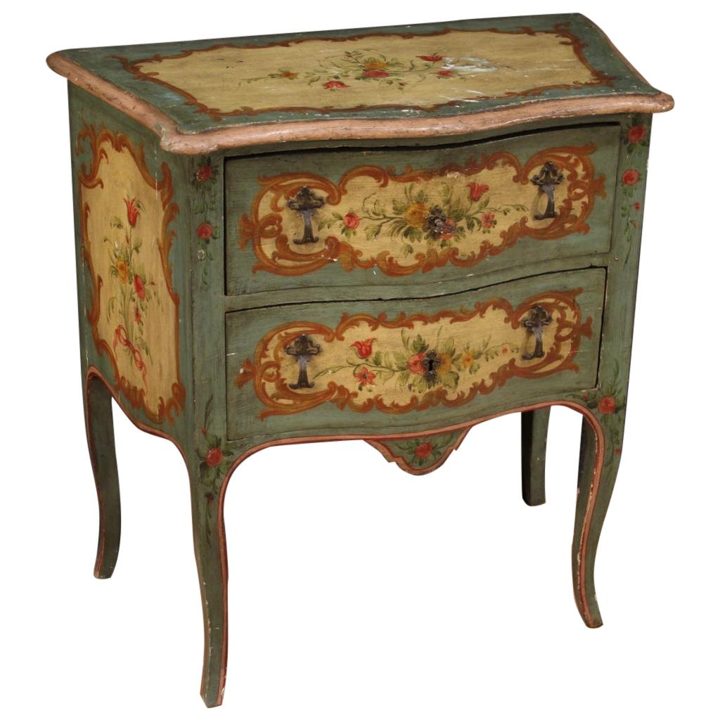 20th Century Carved, Lacquered and Hand Painted Wood Venetian Commode, 1950