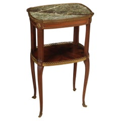 20th Century Carved Mahogany and Marble Top French Side Table, 1950