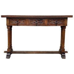20th Century Carved Three-Drawer Spanish Walnut Console Table with Iron Hardware