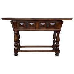 20th Century Carved Two-Drawer Spanish Chesnut Console Table with Iron Hardware