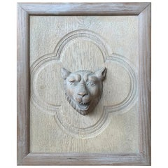 20th Century Carved Wooden Cat Head on Back Plate with Inset Quatrefoil