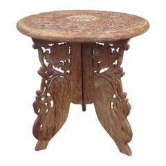 20th Century Carved Wooden Drinks Table with Inlay