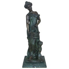 20th Century Cast Bronze Statue of a Nymph Signed by Ferdinando de Luca, Italy