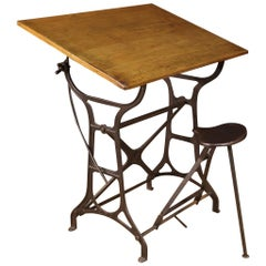 20th Century Cast Iron and Wood Vintage Italian Technical Drawing Table, 1940