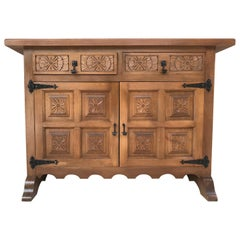20th Century Catalan Baroque Carved Walnut Tuscan Two Drawers Credenza or Buffet