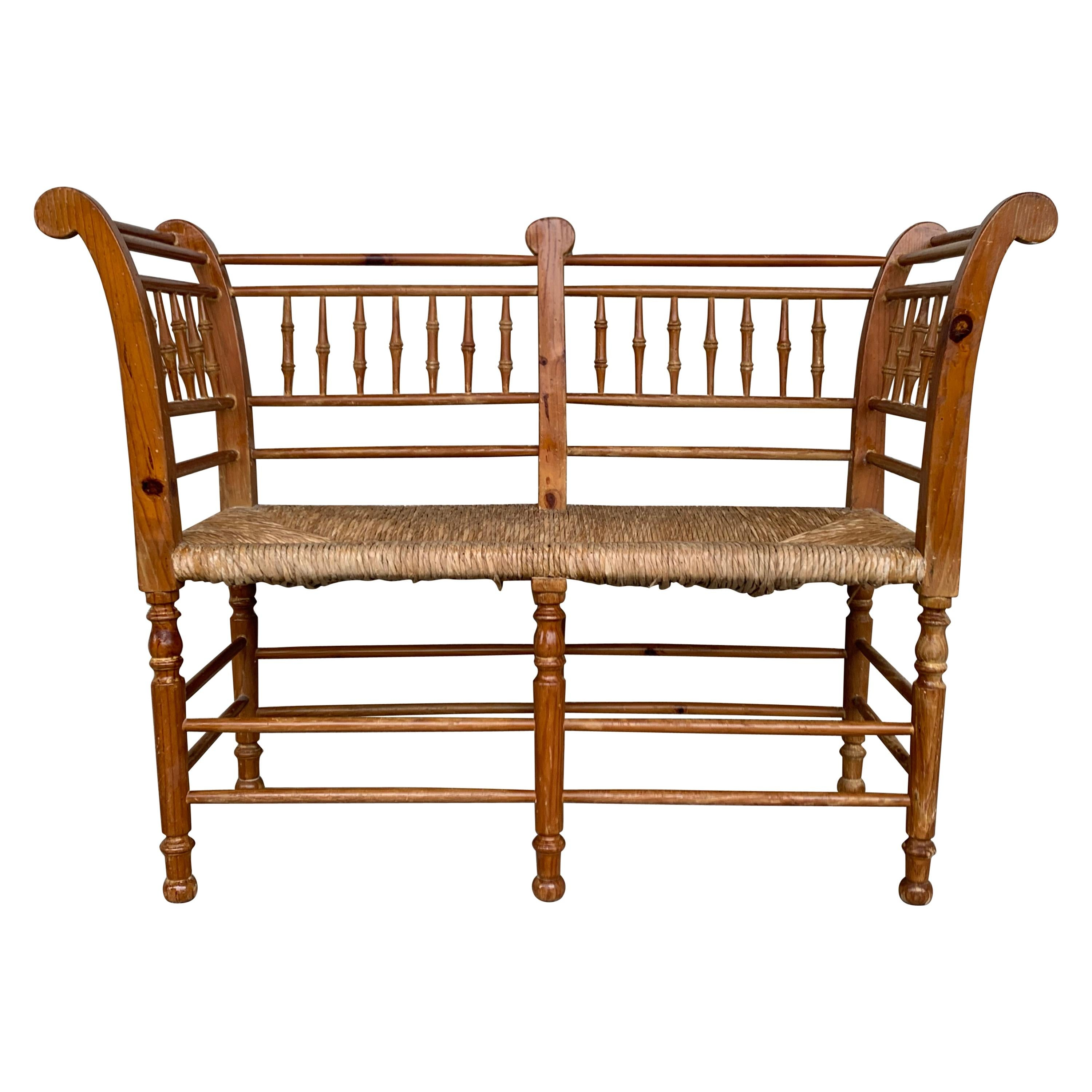 20th Century Catalan Bench in Antique Pine with Caned Seat