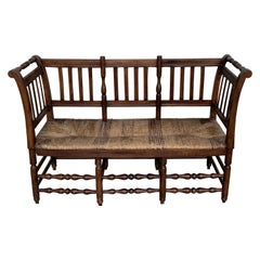 20th Century Catalan Bench in Walnut with Caned Seat