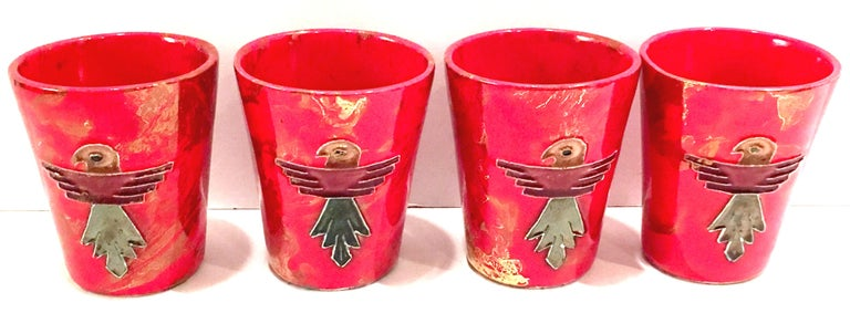 20th Century Ceramic Glaze Thunderbird Drinks Set of 5 by, Arizona Pottery, USA For Sale 1