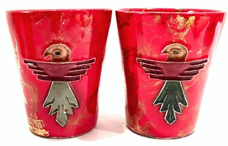 20th Century Ceramic Glaze Thunderbird Drinks Set of 5 by, Arizona Pottery, USA For Sale 3