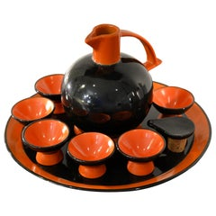 20th Century Ceramiche Rometti Umbertide Rosolio Set in Glazed Ceramic