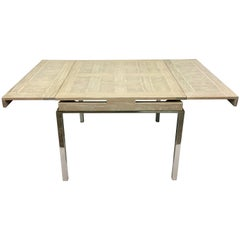 20th Century Cerused Oak Marquetry and Chrome Expandable Dining Table
