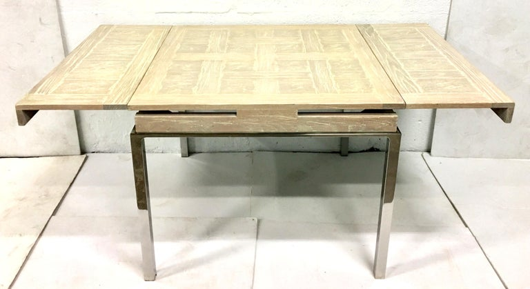 1970'S Organic Modern Finely Custom Crafted Cerused Oak Marquetry Top & Silver Chrome Leg Expandable Dining Table. The juxtaposition of a natural
