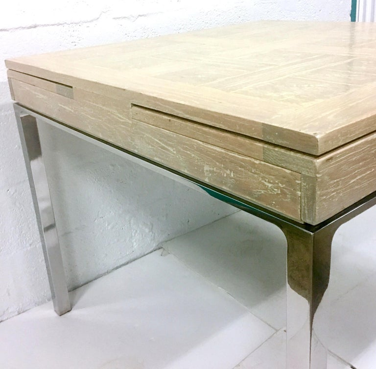 20th Century Cerused Oak Marquetry & Chrome Expandable Dining Table For Sale 1