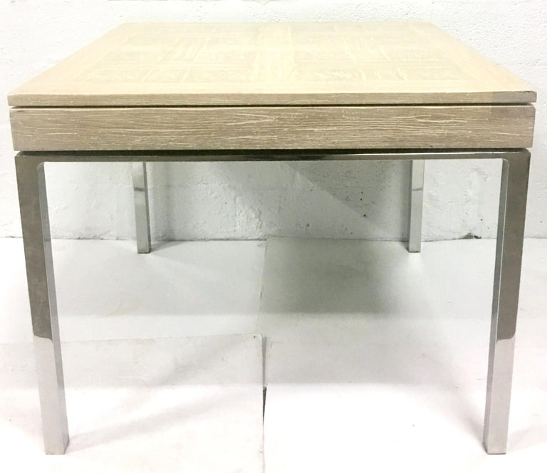 Organic Modern 20th Century Cerused Oak Marquetry & Chrome Expandable Dining Table For Sale