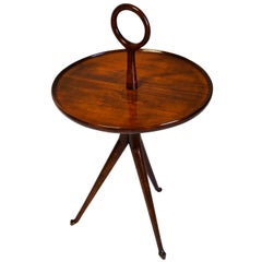 20th Century Cesare Lacca Serving Table Round Top in Wood from 1950s